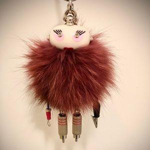 Prada Millie Keychain Trick, Red Fur